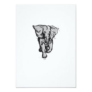 """Dibujo aislado de furia del elefante invitación 4.5"""" x 6.25"""""""