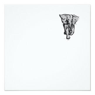 """Dibujo aislado de furia del elefante invitación 5.25"""" x 5.25"""""""