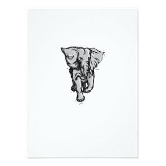 """Dibujo aislado de furia del elefante invitación 5.5"""" x 7.5"""""""
