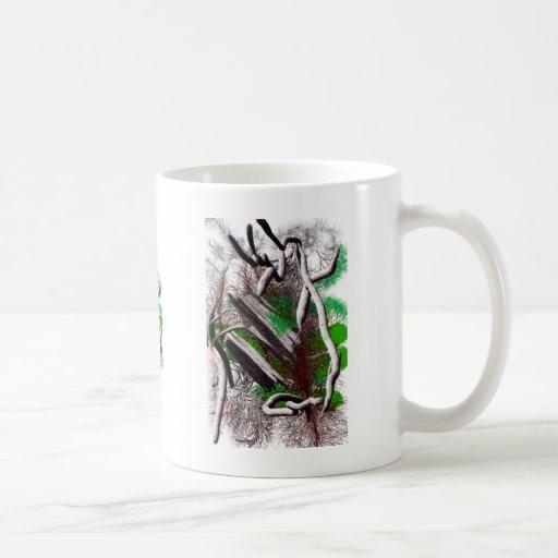 Dibujo al azar del ordenador de las ramas de mader tazas de café