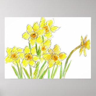Dibujo amarillo de la acuarela del jardín del narc póster