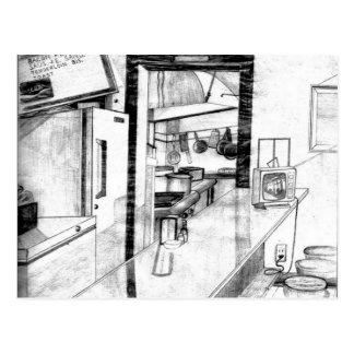 Dibujo americana del comensal del país viejo del tarjetas postales