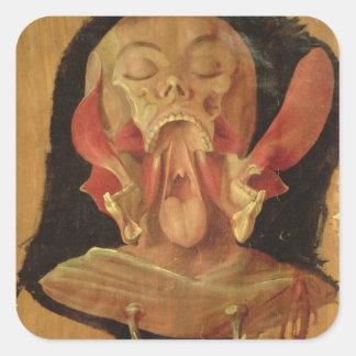 Dibujo anatómico de la cabeza pegatina cuadrada