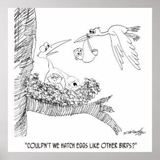 Dibujo animado 0604 de la cigüeña póster