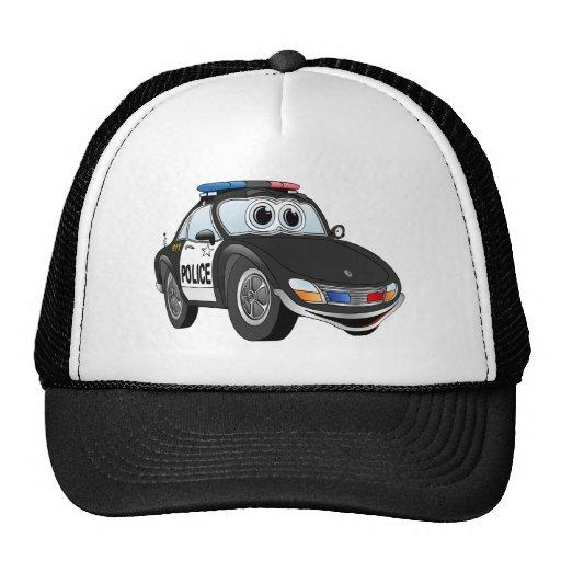 Dibujo animado 2 BWB del coche policía Gorro