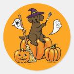 Dibujo animado 2 de Labrador del chocolate de Pegatina Redonda