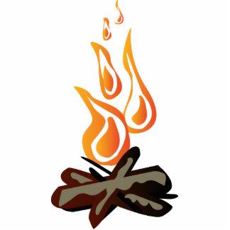 Dibujo animado acogedor del fuego del campo fotoescultura vertical