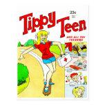 Dibujo animado adolescente del chica del monopatín tarjeta postal