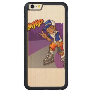 Dibujo animado adolescente del patinador de Hip Funda De Arce Bumper Carved® Para iPhone 6 Plus