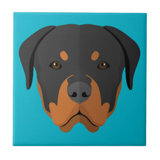 Dibujo animado adorable de Rottweiler Azulejo Cuadrado Pequeño