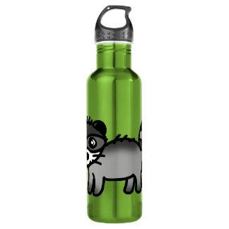dibujo animado adorable del animal del mapache botella de agua
