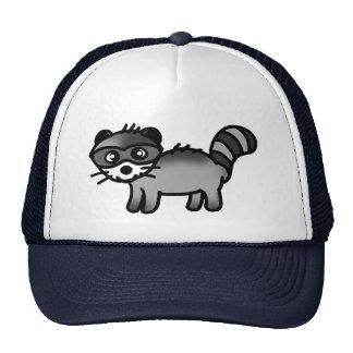 dibujo animado adorable del animal del mapache gorro de camionero