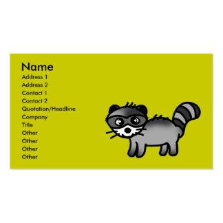dibujo animado adorable del animal del mapache plantilla de tarjeta personal