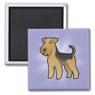 Dibujo animado Airedale Terrier/Terrier galés Imán Cuadrado