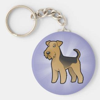 Dibujo animado Airedale Terrier/Terrier galés Llavero