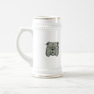 Dibujo animado aislado cabeza del dogo jarra de cerveza