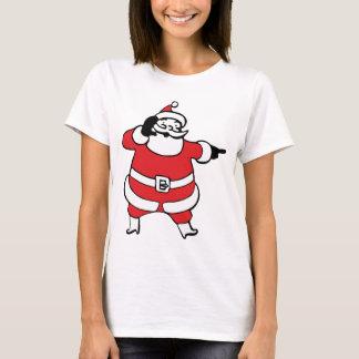 Dibujo animado alegre Papá Noel que llama su reno Playera