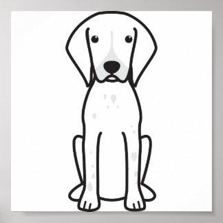 Dibujo animado alemán del perro del indicador de p poster