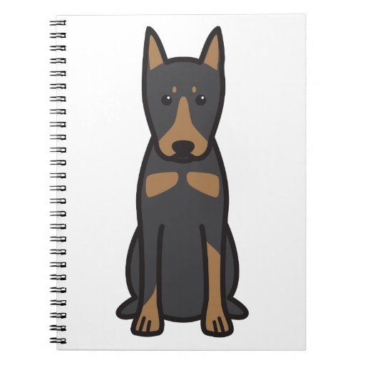 Dibujo animado alemán del perro del Pinscher Libreta Espiral