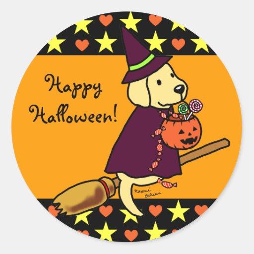 Dibujo animado amarillo 1 de Halloween Labrador Pegatina Redonda