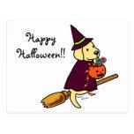 Dibujo animado amarillo 1 de Halloween Labrador Postal