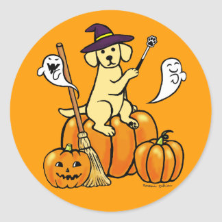 Dibujo animado amarillo 2 de Halloween Labrador Etiqueta