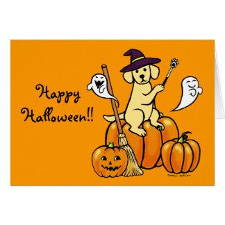 Dibujo animado amarillo 2 de Halloween Labrador Tarjetón