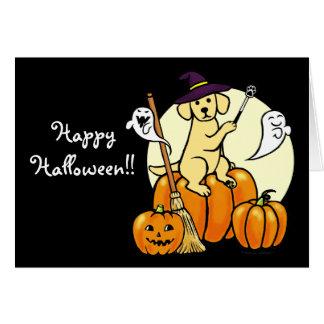 Dibujo animado amarillo 2 de Halloween Labrador Tarjeta