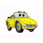 Dibujo animado amarillo de Covertible del coche de Tarjetas Postales