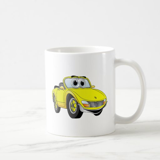 Dibujo animado amarillo de Covertible del coche de Tazas De Café