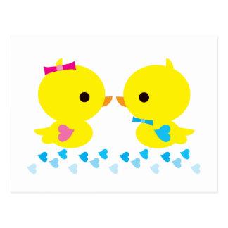 Dibujo animado amarillo de Duckies Kawaii Postales
