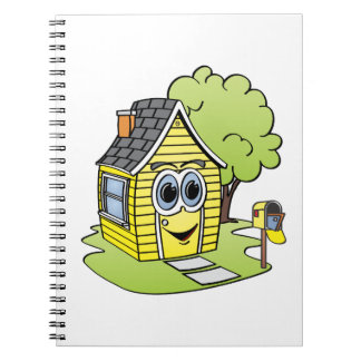 Dibujo animado amarillo de la casa libretas
