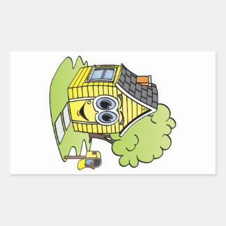 Dibujo animado amarillo de la casa pegatina rectangular