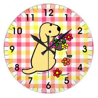 Dibujo animado amarillo de la cesta de la flor del reloj redondo grande