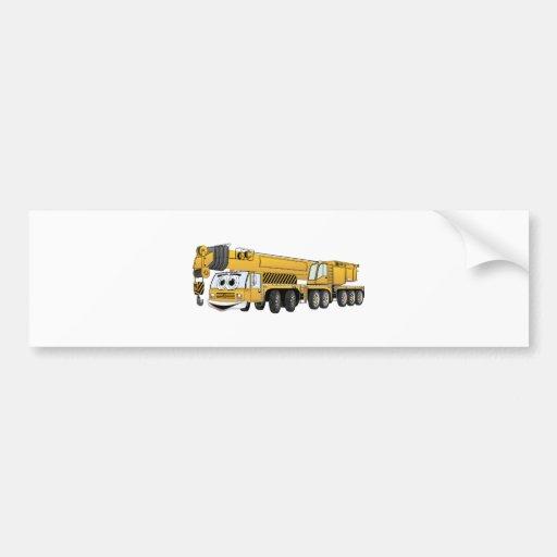 Dibujo animado amarillo de la grúa pegatina para auto