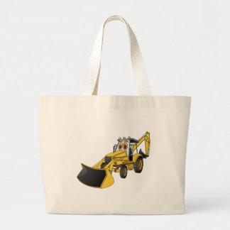 Dibujo animado amarillo de la retroexcavadora bolsa tela grande