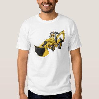 Dibujo animado amarillo de la retroexcavadora remeras