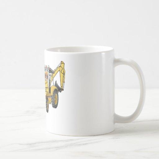 Dibujo animado amarillo de la retroexcavadora taza