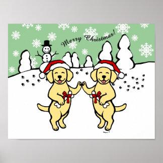 Dibujo animado amarillo de Labradors del navidad Póster