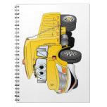 Dibujo animado amarillo del árbol del camión volqu libro de apuntes con espiral