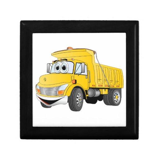 Dibujo animado amarillo del árbol del camión volqu cajas de joyas