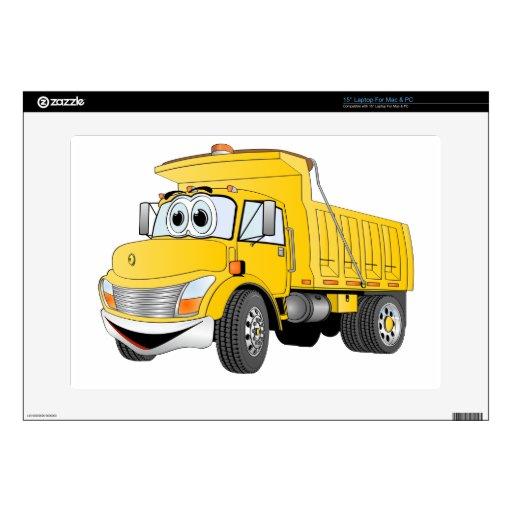 Dibujo animado amarillo del árbol del camión volqu calcomanía para 38,1cm portátil