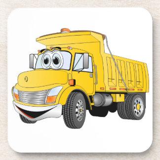 Dibujo animado amarillo del árbol del camión volqu posavasos de bebida