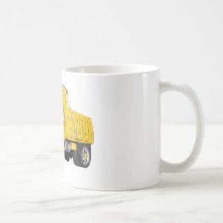 Dibujo animado amarillo del árbol del camión volqu tazas de café