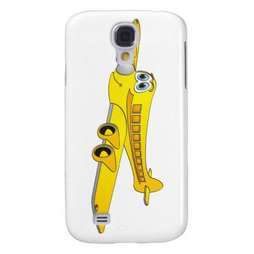 Dibujo animado amarillo del avión de pasajeros funda para galaxy s4