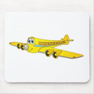 Dibujo animado amarillo del avión de pasajeros O Tapete De Ratón