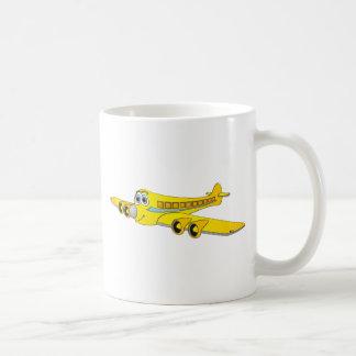 Dibujo animado amarillo del avión de pasajeros O Tazas De Café
