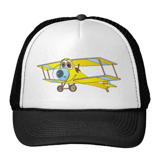 Dibujo animado amarillo del biplano gorro