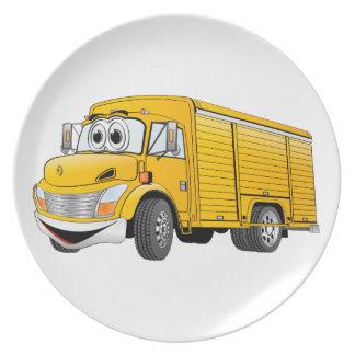 Dibujo animado amarillo del camión de la bebida platos para fiestas