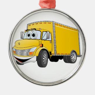 Dibujo animado amarillo del camión de reparto adorno navideño redondo de metal